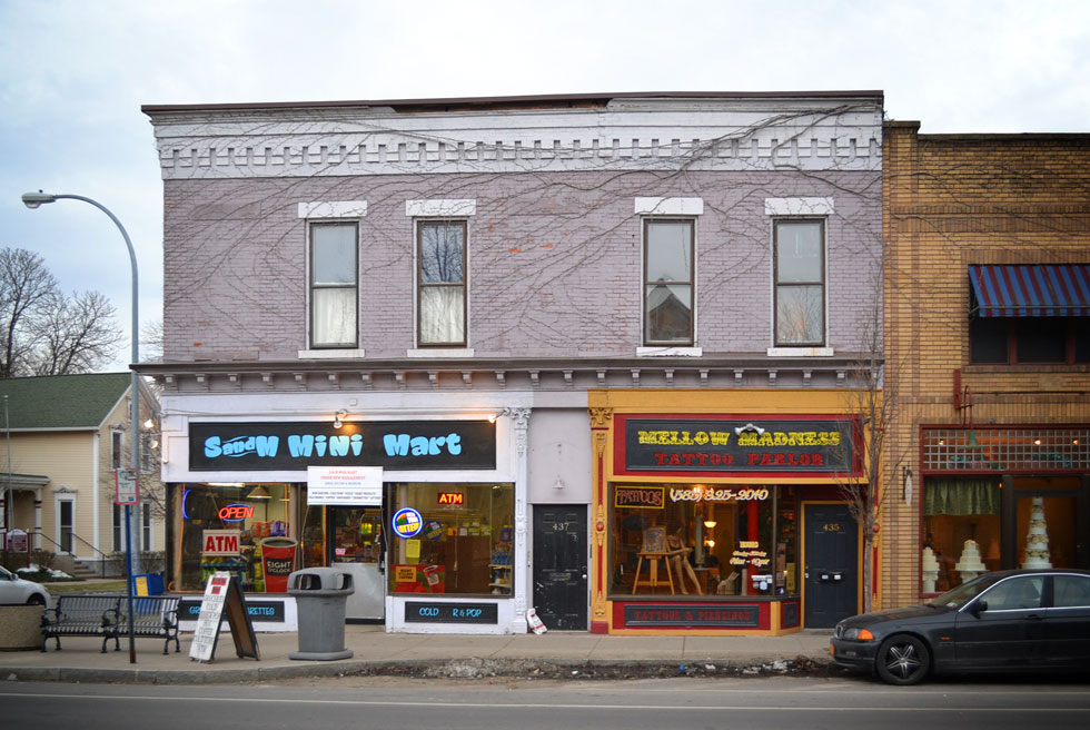 S and M Mini Mart and Mellow Madness Tattoo Parlor. South Ave. Rochester, NY. [PHOTO: RochesterSubway.com]