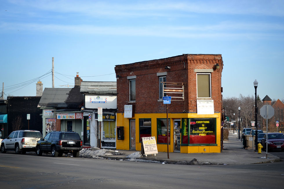 Braiding, Barber Shop, and Caribbean Food. Main and Richmond St. Rochester, NY. [PHOTO: RochesterSubway.com]