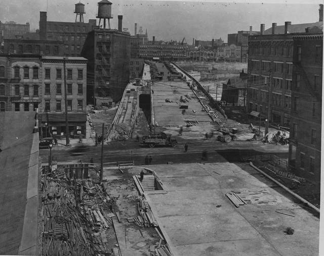 Rochester Subway, Broad Street tunnel construction. c.1925. [IMAGE: Rochester Municipal Archives]