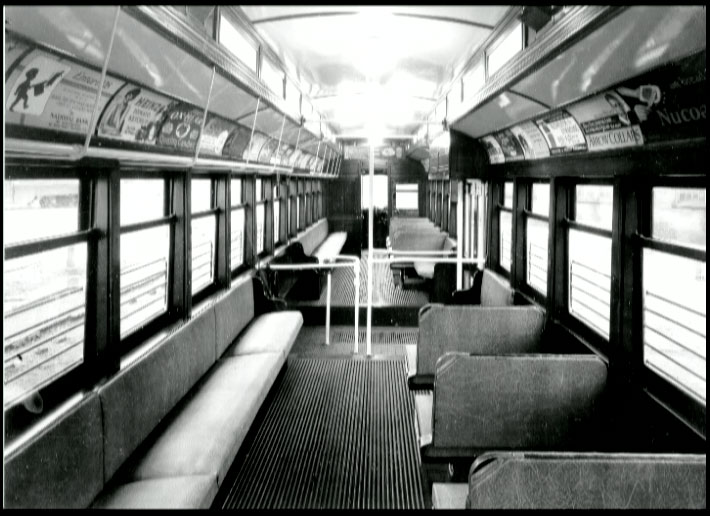 Here's a look inside of a Rochester Subway car. This one is empty. The car Jim would have been riding on the last day of service was undoubtedly full. [PHOTO: Wallace Bradley Collection]