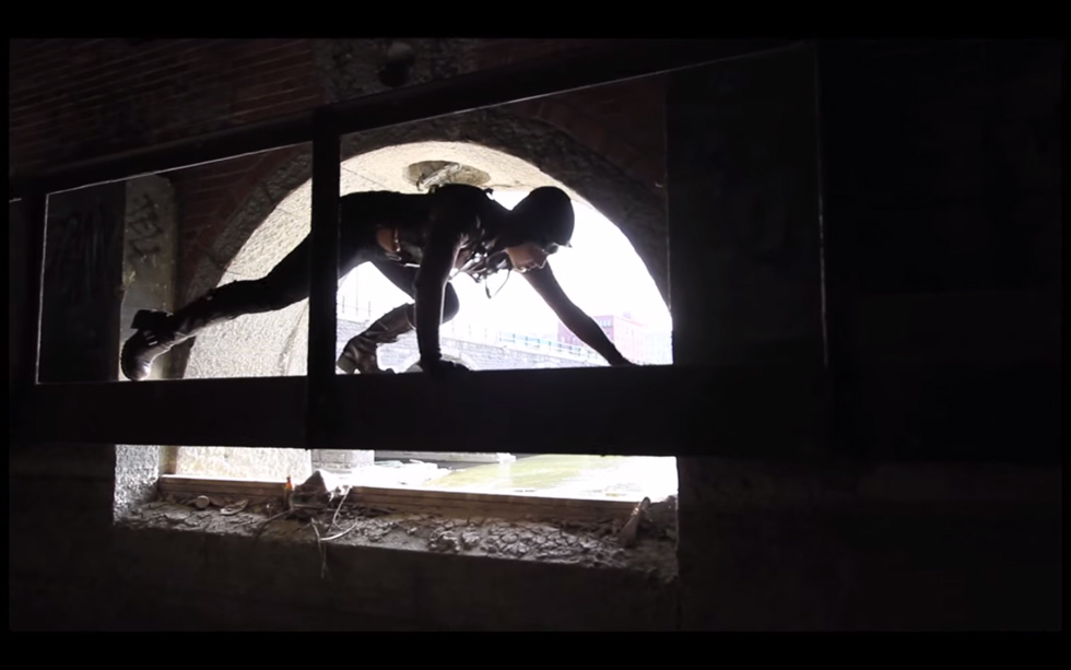 Scene from 'Infiltration'. An interpretive dance film shot in the abandoned Rochester subway tunnel. [IMAGE: Breakbone DanceCo.]