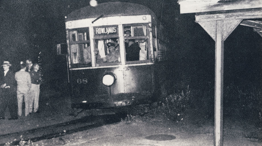 The last car—the last run—midnight June 30, 1956. Car 68 is pictured at Rowlands ready to depart on the last trip to General Motors. The farewell trip was well attended by members of the Rochester Chapter, NRHS and subway employees (photo: John Wilkins, Shelden King Collection)