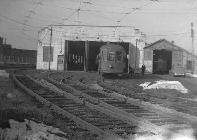 Subway cars turned around in a loop of track at Rochester Products. [PHOTO: Rochester Public Library]