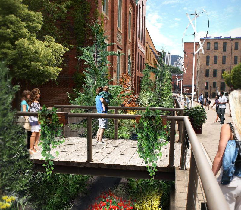 Concept for a Sunken Garden at Browns Race, High Falls. Rochester, NY. [IMAGE: Bryant Design Studios]