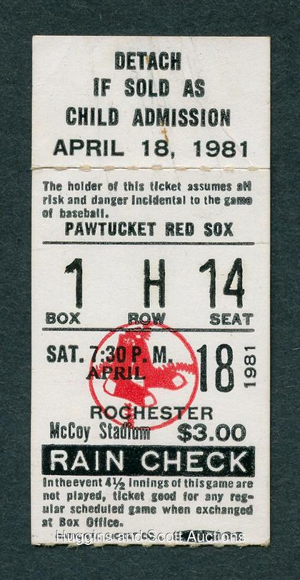 Ticket to the longest baseball game in history. [IMAGE: Huggins and Scott Auctions]