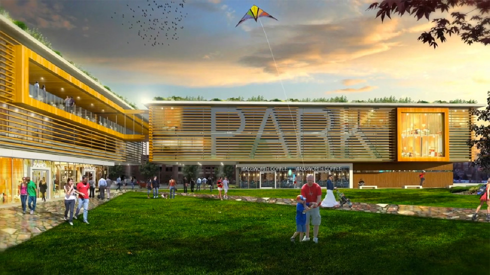 Renderings of a previous Wadsworth Park development concept, from Bryant Design Studios.
