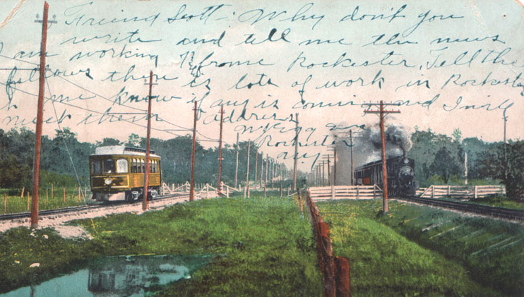 A vintage postcard (available on RochesterSubway.com) entitled 'Electricity versus Steam'. The photo shows the tracks of the Rochester and Eastern Rapid Railroad and the Auburn branch of the New York Central and Hudson River Railroad where they parallel each other between Rochester and Canandaigua, with the trains of each railroad running at full speed in the same direction. The electric car shown here was capable of reaching speeds of sixty miles per hour.