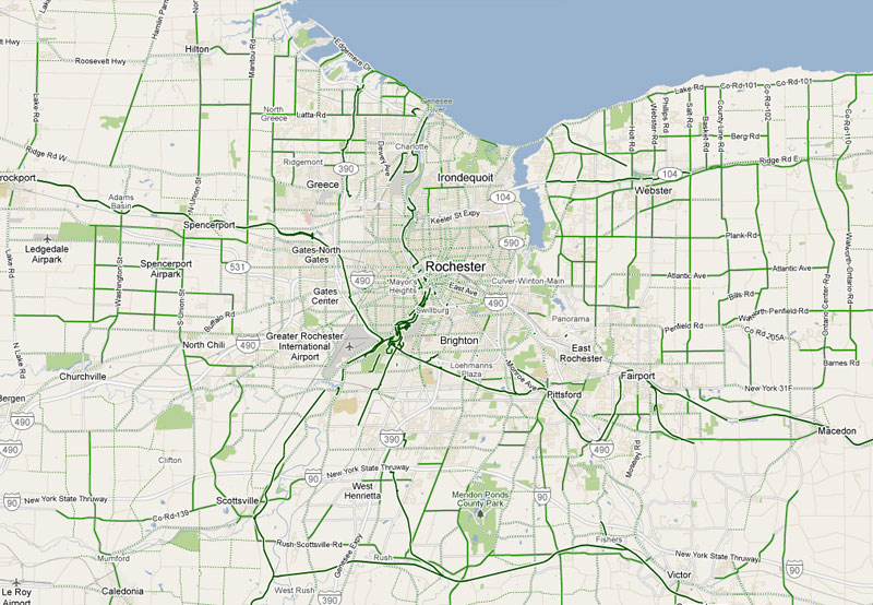 Rochester's many bike routes (both on and off-road) as seen using Google transit.