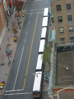 A common sight—RTS buses lined up along Main Street.