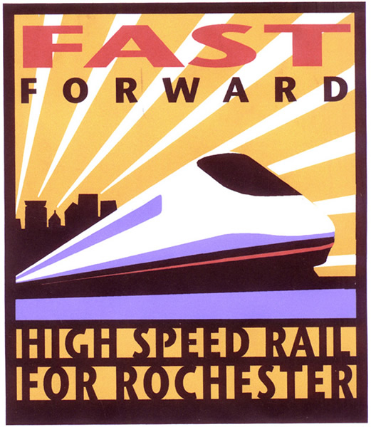 'Fast Forward - High Speed Rail for Rochester' poster designed by Laura Wilder circa 2002. Commissioned by the Genesee Transportation Council to drum up support for high speed rail.