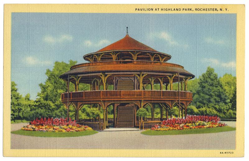 A vintage postcard view of the Highland Park Pavilion (c.1930).