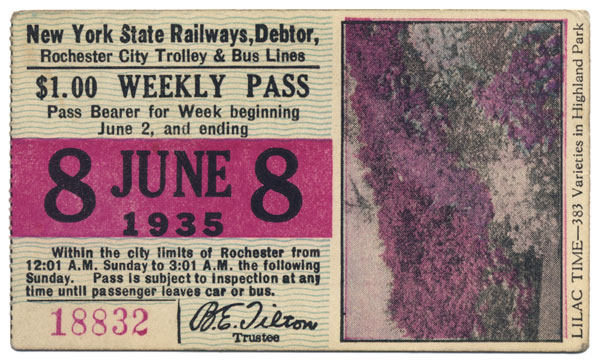 Here's a bus/trolley pass from 1935 reminding riders to stop and smell the lilacs.