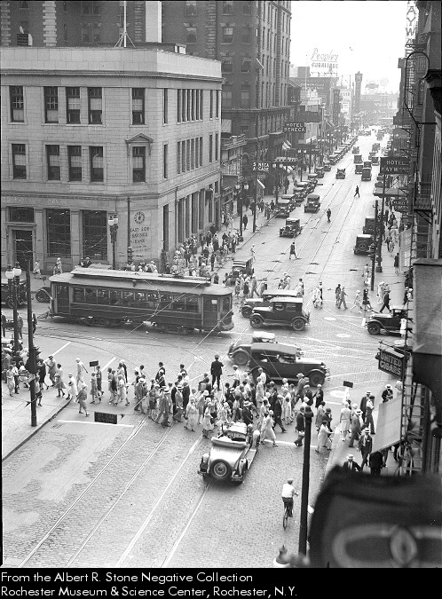 Rochester's Main Street and Clinton Avenue looking South. 1929.