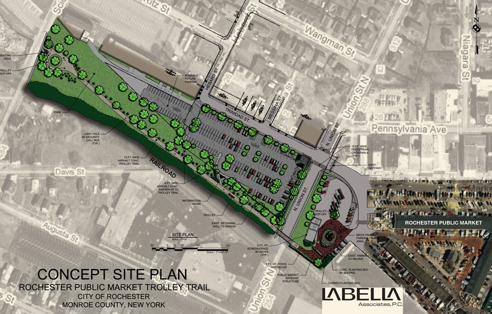 The Rochester Public Market will get additional parking and a new rubber-tire tram to carry shoppers to and from their cars. Construction is expected to begin Fall 2010.