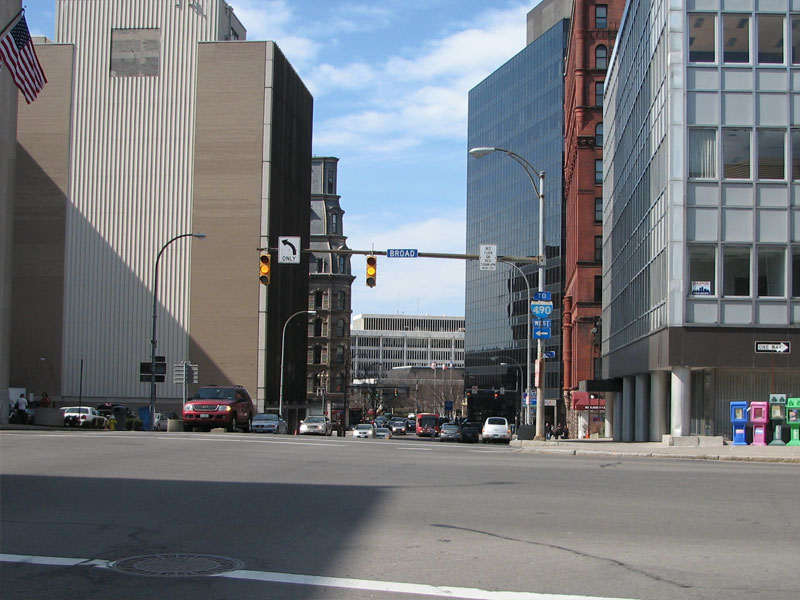 The Four Corners as it looks today standing at the south end on Exchange Street looking toward State Street.