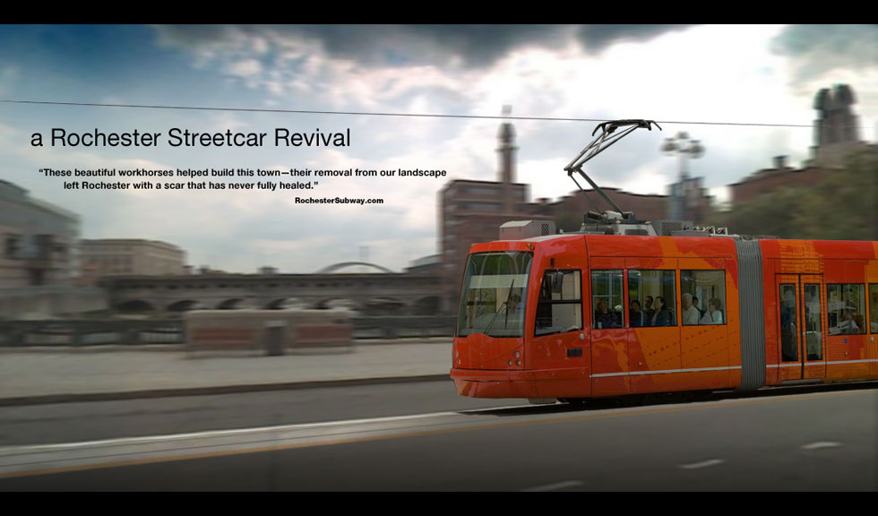 Photo simulation of a new Rochester streetcar on Main Street.