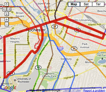 Proposed Rochester Streetcar Route with RTS bus routes.