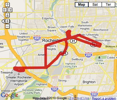 Proposed Rochester Streetcar Route with extension to train station and airport.