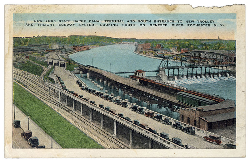 Here's a vintage postcard we recently acquired depicting the south entrance to the Rochester Subway (circa 1928).
