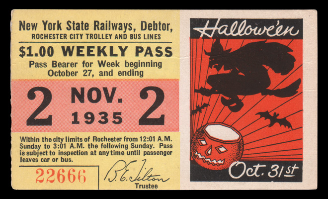 This Rochester Streetcar and Subway weekly pass from October 1935 wishes riders a 'Happy Halloween'.