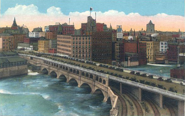 Illustration of the Aqueduct after the addition of subway tracks and the Broad Street road surface.