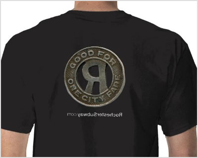 RochesterSubway.com RTC Token T-shirt. Yes, we're geeks and proud of it.