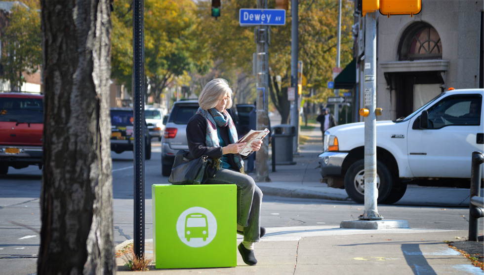 We'll be kicking off an effort in 2015 to bring seats to Rochester bus stops. [PHOTO: Reconnect Rochester]