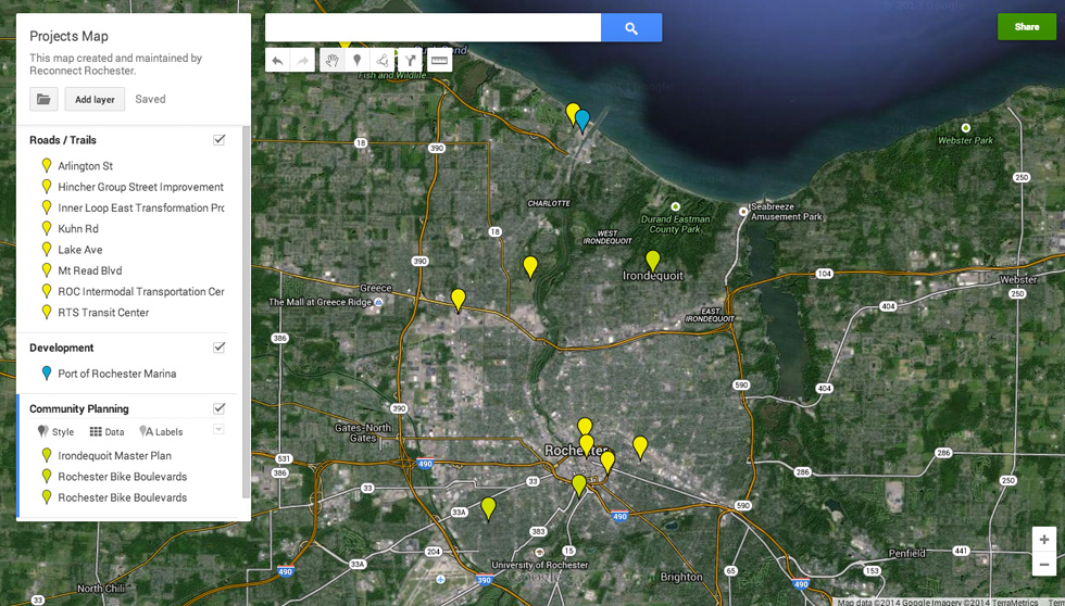 We've begun to systematically track all local projects and public input opportunities with this crowd-sourced map.