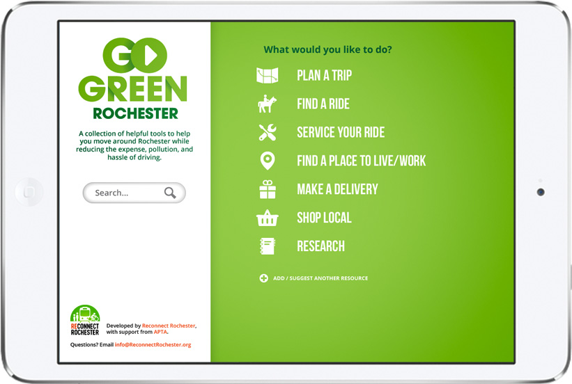 Reconnect Rochester was recently awarded a grant from the American Public Transportation Association (APTA) for the creation an online transit toolbox for Rochester. [IMAGE: Reconnect Rochester]