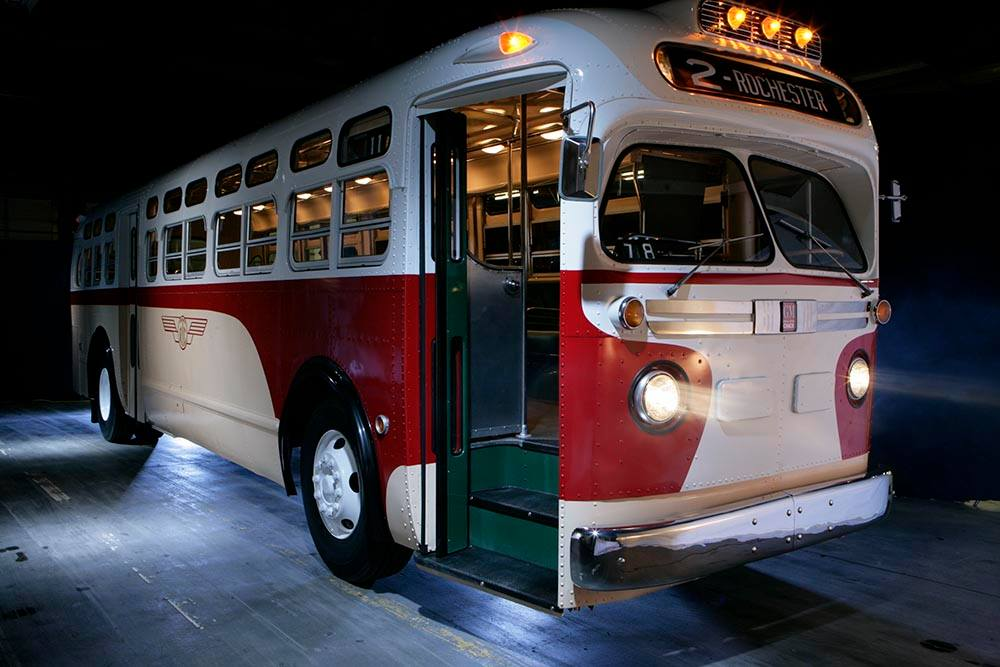 Regional Transit Service's fully restored 1957 GM transit bus will take passengers for a ride along the old Rochester subway route this weekend. [IMAGE: Provided]