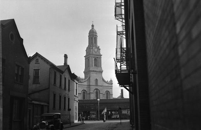 Saint Joseph's Church, downtown Rochester NY. 1930. [PHOTO: Rochester Public Library]
