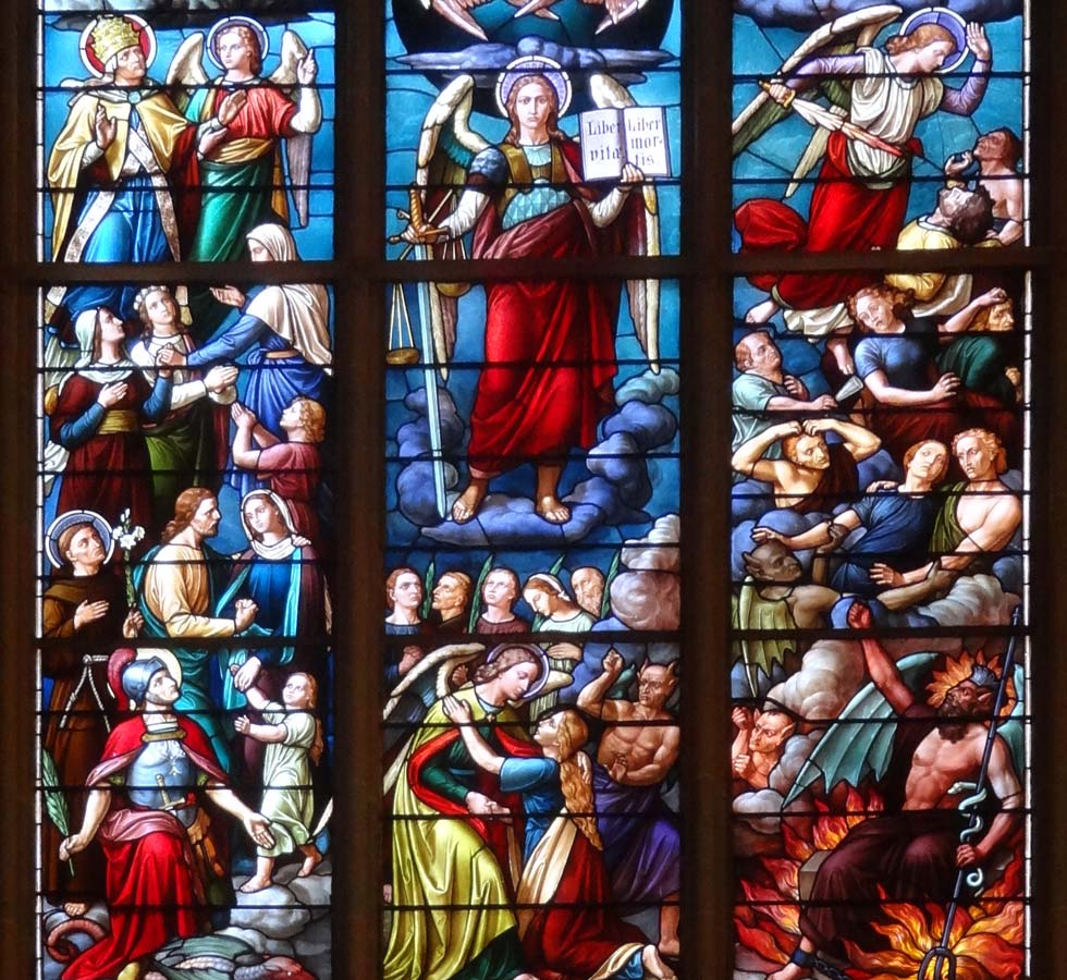 A stained glass window in Rochester's Saint Michael's Church, Rochester NY. [IMAGE: www.exploringtheburnedoverdistrict.wordpress.com]