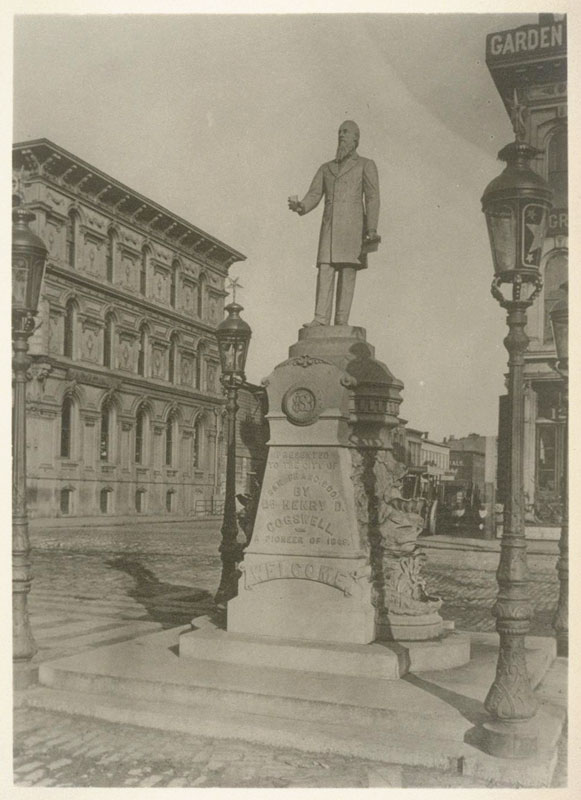One of Dr. Henry D. Cogswell's drinking fountains in San Francisco, (c1888). This looks very similar to the one we had in Rochester. [PHOTO: UC Berkeley, Bancroft Library]