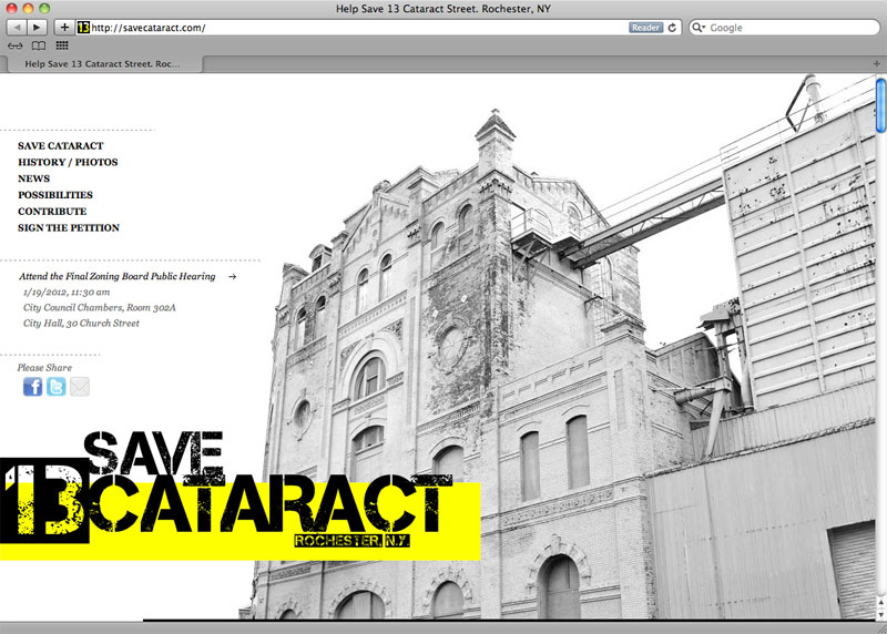 A new web site paying homage to the endangered Cataract Brewery building popped up this week. The site is a treasure trove of historical documents, articles, and images and invites those interested to help 'Save Cataract'.