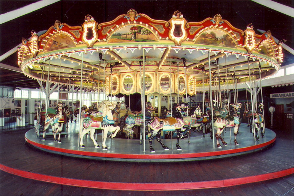 The carousel that was lost was built by the Philadelphia Toboggan Company in 1915 for George Long. Orginally placed in Seneca Park, he moved it to Seabreeze in 1926. [PHOTO: Courtesy Seabreeze Amusement Park]