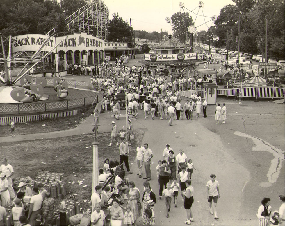 After the fire, the Old Mill was rebuilt on the other side of the Jack Rabbit. In the 1940's the Old Mill was converted into a dry ride and renamed 'The Subway.' [PHOTO: Courtesy Seabreeze Amusement Park]