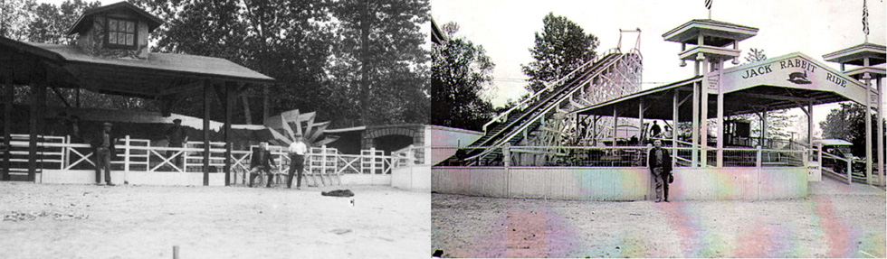 The Old Mill water ride, and the Jack Rabbit roller coaster. These two photos were taken at different times. Matthew Caulfield and Alan Mueller pieced the two photos together to discover the location of the Old Mill which was previously unknown. [PHOTO: Courtesy Seabreeze Amusement Park and Albert R. Stone]