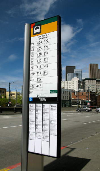 This bus stop sign in Seattle gives riders all the information they need to find their way.