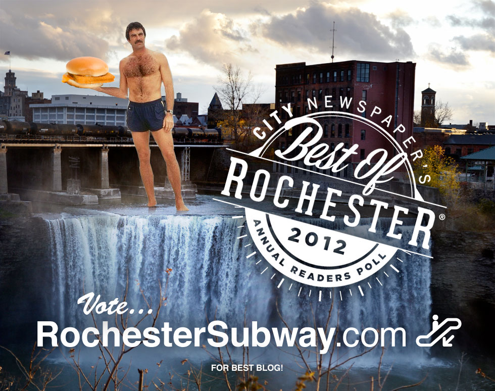 Vote RochesterSubway.com for City Newspaper's 'Best of 2012' ...the only blog for fans of Selleck, sandwiches, waterfalls and Rochester NY. [IMAGE INSPIRED BY: The Selleck Waterfall Sandwich Blog]