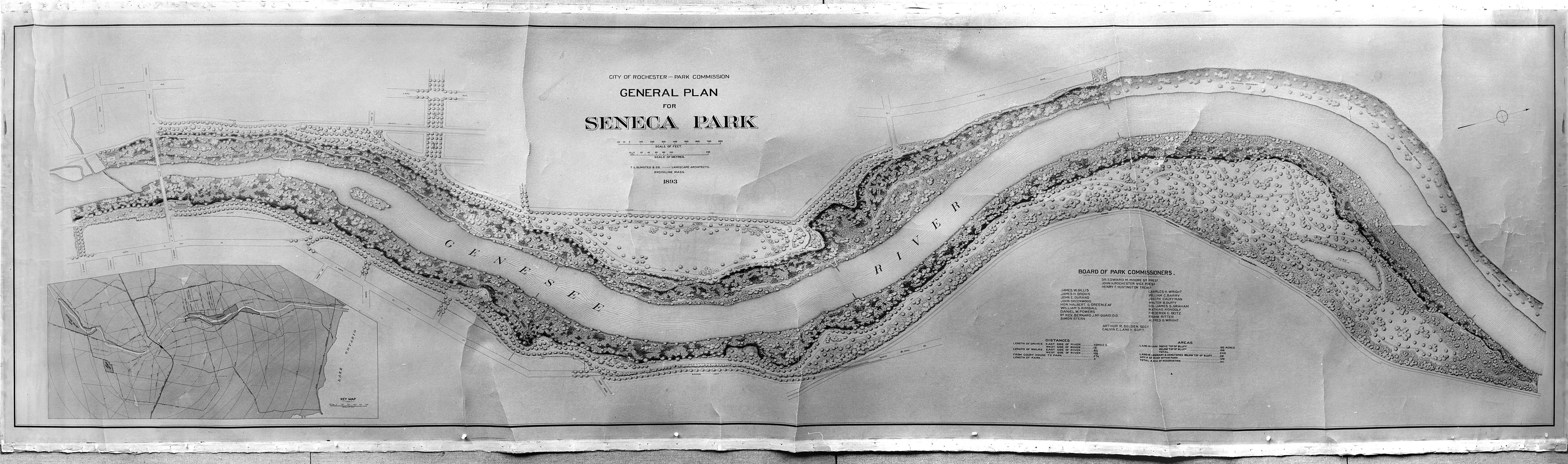 Original plan drawing of Seneca Park by Frederick Law Olmsted & Co.