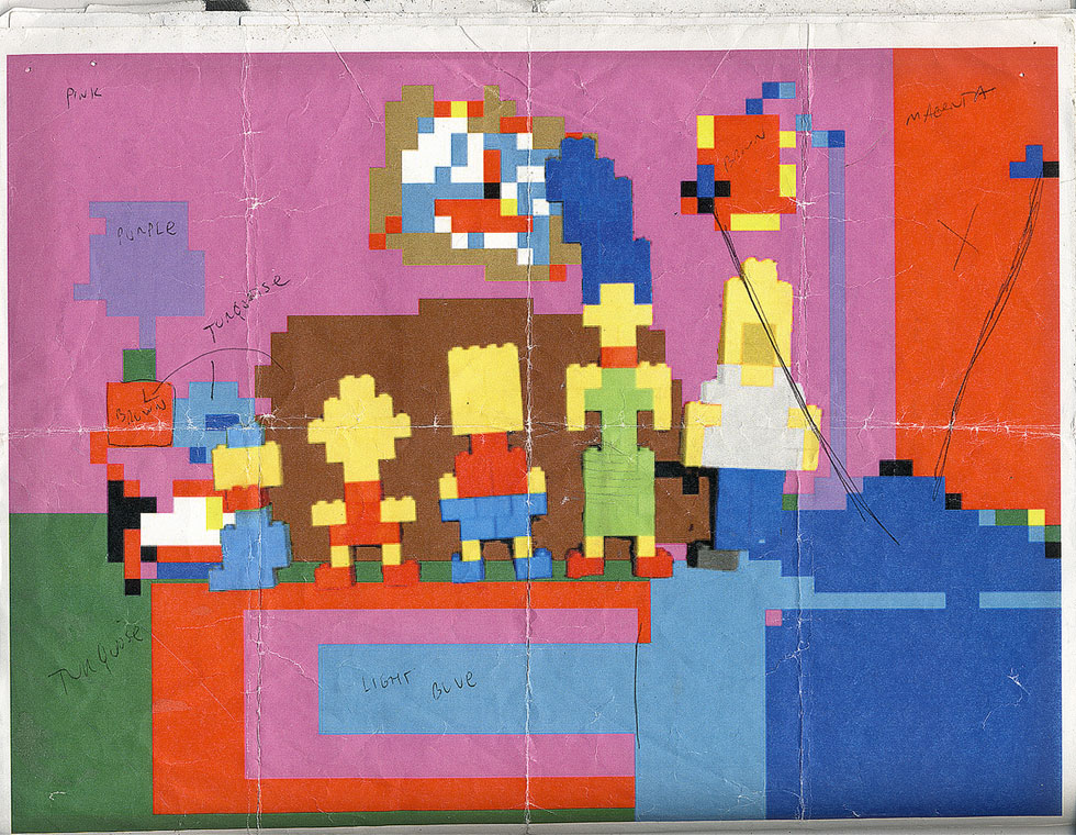 Mike's LEGO block plan for The Simpsons couch gag.