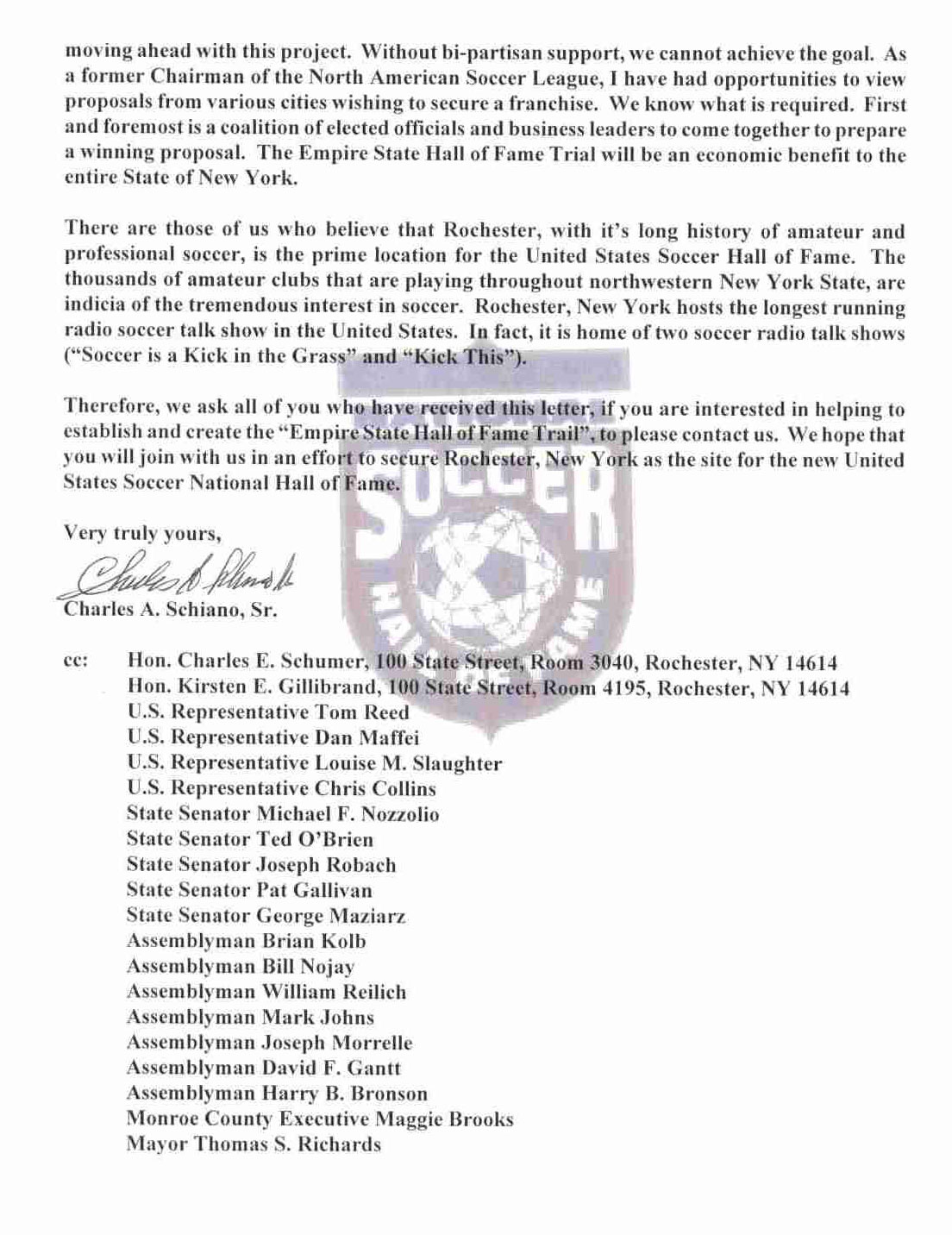Al Schneider's letter to Governor Cuomo, RE: US Soccer Hall of Fame.