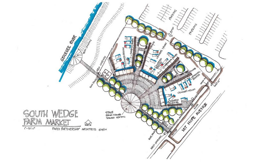 The South Wedge Farmers Market will move to a new site at 151 Mount Hope. [RENDERING: Al Pardi Architects]