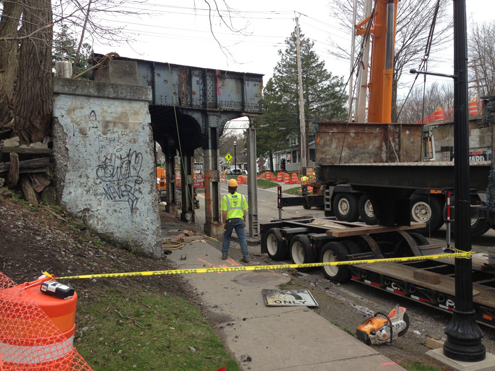 Old railroad bridge over S. Union Street in Spencerport being removed. [PHOTO: Daniel Azzolina]