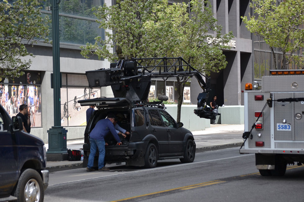 Filming of Spider Man 2 in Rochester, NY. [PHOTO: RochesterSubway.com]