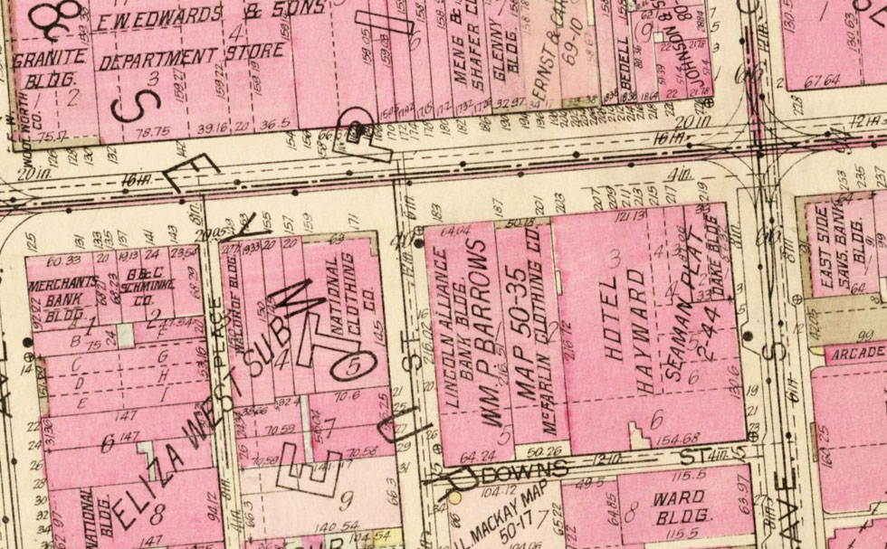 The National Clothing Store replaced the Hotel Eggleston and is shown in this 1926 plat map. [IMAGE: Rochester Public Library]