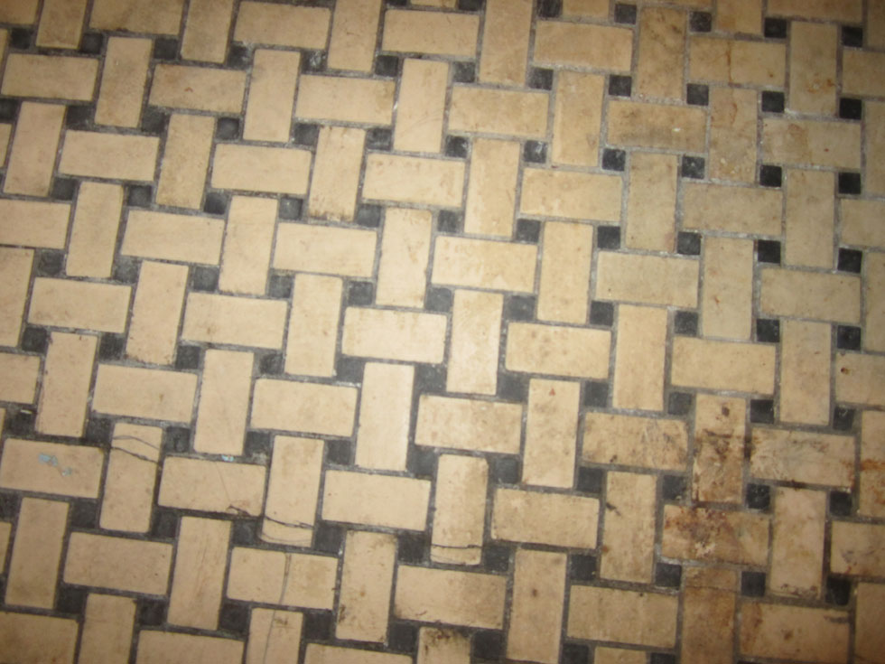 Basket-weave tile floors. [PHOTO: Ryan Green]