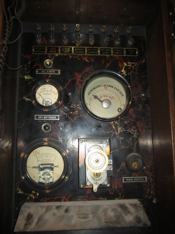 The alarm system control panel. May have been capable of dispensing tear gas? [PHOTO: Ryan Green]
