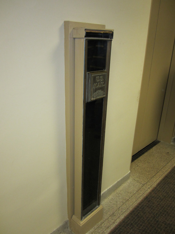 The Cutler mail chute is still in use today. [PHOTO: Ryan Green]