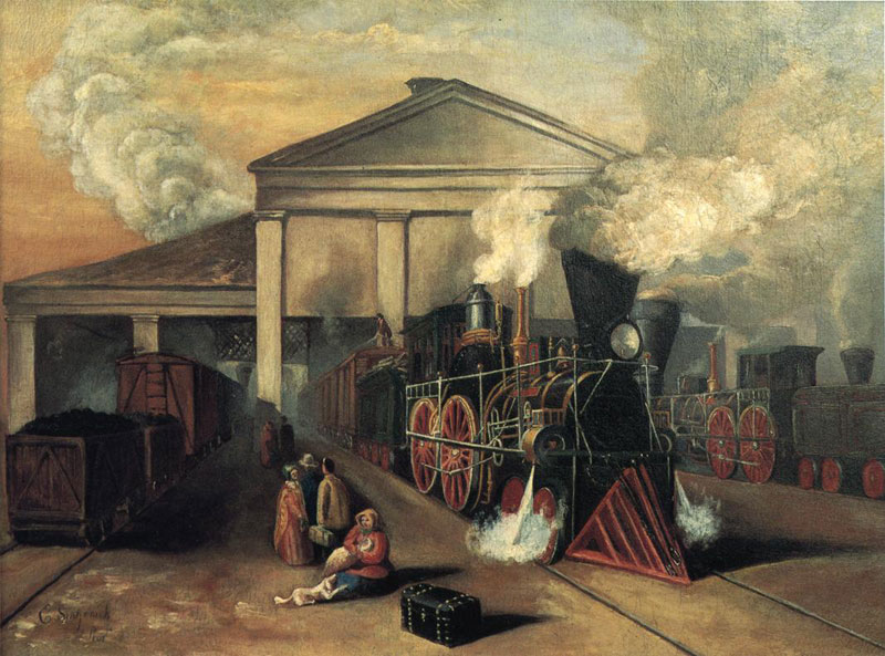 Train Leaving Auburn Station Rochester NY [PAINTING: Eugene Sintzenich, Oil on Canvas, 1852]